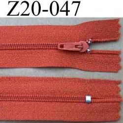 fermeture éclair 20 cm couleur rouille non séparable zip nylon largeur 2,7 cm largeur de la glissière 4 mm
