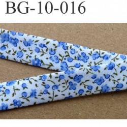galon biais ruban passe poil plié fleur style liberty largeur 10 mm rebords plié de 5 mm couleur blanc bleu vert 100 % coton