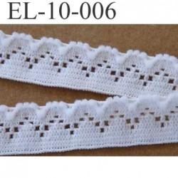 élastique plat dentelle couleur blanc largeur 10 mm vendu au mètre
