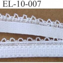 élastique plat boucles dentelle couleur blanc largeur 10 mm vendu au mètre