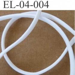 élastique plat bombé presque rond  largeur 4 mm épaisseur 3 mm couleur blanc lumineux vendu au mètre