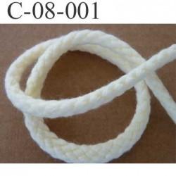 cordon en coton et synthétique couleur ecru diamètre 8 mm vendu au mètre