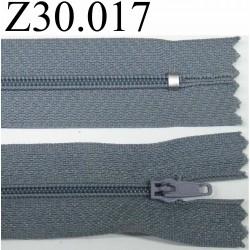 fermeture 30 cm couleur gris bleuté zip nylon