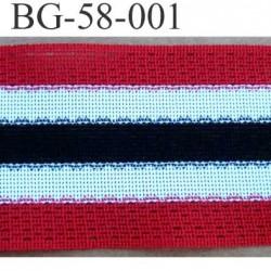 biais galon ruban couleur rouge blanc noir largeur 58 mm synthétique vendu au mètre