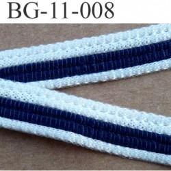 galon biais ruban synthétique  largeur 11 mm couleur blanc et bleu  vendu au mètre