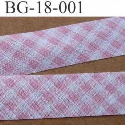 biais ruban galon a plat à plier en coton couleur rose et blanc vichy a la bardot largeur 1.8 cm vendu au mètre