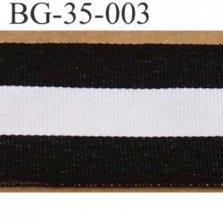 biais gros grain souple galon ruban largeur 35 mm couleur noir et blanc vendu au mètre