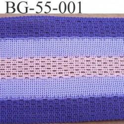 biais galon ruban couleur violet parme et rose largeur 55 mm synthétique vendu au mètre