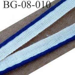 biais galon ruban passe poil couleur bleu et blanc 100 % coton grand teint largeur 8 mm vendu au mètre