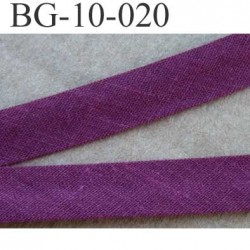 galon biais passe poil plié largeur 10 mm 2 rebords plié de 10 mm plus 2 rebords de 4 mm couleur bordeau 100 % coton