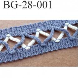 biais galon ruban couleur bleu et blanc écru largeur 28 mm vendu au mètre