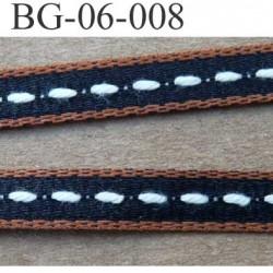 galon biais ruban double face couleur marron noir et blanc largeur 6 mm vendu au mètre