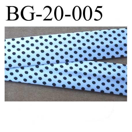 biais galon ruban passe poil plié largeur 20 mm au dos 2 rabats de 10 mm en satin couleur argent blanc et points noir brillant