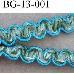 biais galon ruban couleur bleu vert et écru largeur 13 mm vendu au mètre