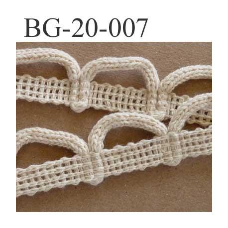 biais  coton galon ruban dentelle boucle couleur écru largeur 20 mm arrive d'une vieille mercerie vendu au mètre