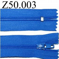 fermeture 50 cm bleu non séparable zip nylon