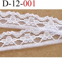 dentelle galon ruban largeur 12 mm couleur blanc vendu au mètre