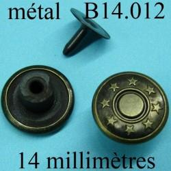 Bouton pour jeans 14 mm en métal couleur bronze avec le clou facile à posé 14 millimètre