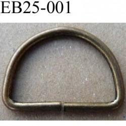 Boucle etrier anneau demi rond métal couleur bronze largeur  2.5 cm intérieur 2.1 cm idéal pour sangle 2 cm hauteur1.7 cm