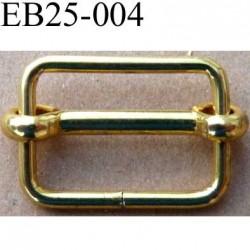 Boucle etrier rectangle coulissant métal chromé doré largeur extérieur 2.5 cm largeur intérieur 2.1 cm hauteur 1.8 cm