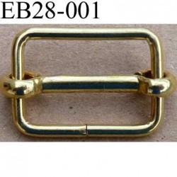 Boucle etrier rectangle coulissant métal chromé doré largeur extérieur 2.8 cm largeur intérieur 2.3 cm hauteur 2 cm