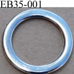 Boucle étrier anneau  métal chromé diamètre extérieur 3.5 cm diamètre intérieur 2.6 cm largeur de bande 5 mm épaisseur 3 mm