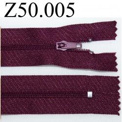 fermeture 50 cm bordeaux zip nylon non séparable