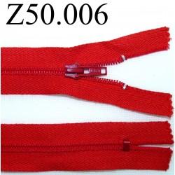 fermeture 50 cm rouge zip nylon non séparable