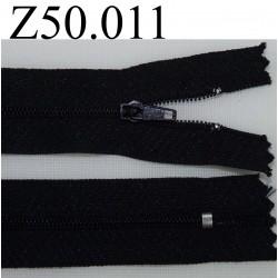 fermeture 50 cm noir non séparable zip nylon