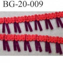biais galon ruban à franges style daim largeur 20 mm couleur rouge et bordeau le mètre