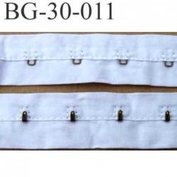 ruban galon bande agrafe couleur blanc largeur 30 mm 100 % coton souple un mètre male et un mètre femèle