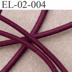 élastique cordon très belle qualité couleur bordeau lie de vin lumineux largeur 2 mm le mètre