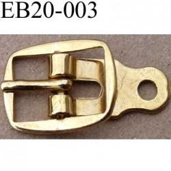 Boucle etrier rectangle métal doré ancienne largeur 20 mm passage de la languette est de 10 mm accroche du rivet diamètre 3 mm