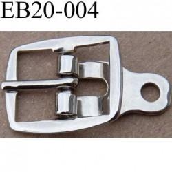 Boucle ancienne étrier rectangle métal chromé largeur 20 mm passage pour la languette de 10 mm accroche par rivet diamètre 3 mm