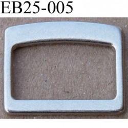 Boucle étrier rectangle en métal du nikel chromé argenté largeur extérieur 2.5 cm intérieur 2.1 cm hauteur 1.9 cm