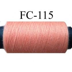 bobine de fil polyester n° 120 couleur saumon longueur 200 mètres largeur de la bobine 5.5 cm diamètre 2.5 cm made in france
