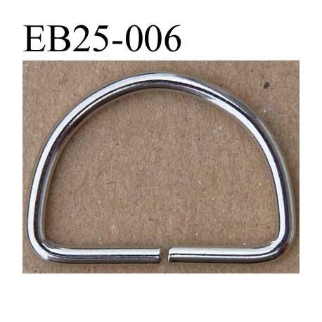 Boucle étrier demi rond métal chromé argenté largeur extérieur 2.5 cm intérieur 2.1 cm iédal sangle de 2 cm hauteur 18 mm