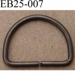 Boucle étrier demi rond en métal couleur bronze largeur extérieur 2.5 cm intérieur 2.1 cm iédal sangle de 2 cm hauteur 18 mm