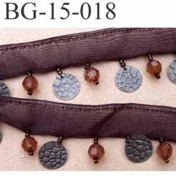 biais galon ruban largeur 15 mm couleur marron avec perles 7 mm brillantes et pièces en métal 13 mm hauteur total 32 mm