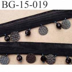 biais galon ruban largeur 15 mm couleur noir avec perles 7 mm brillantes et pièces en métal 13 mm hauteur total 32 mm