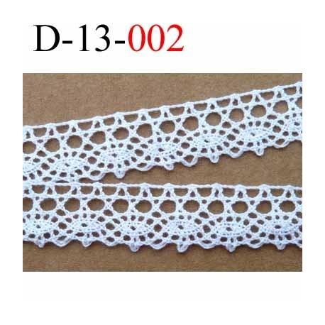 dentelle crochet largeur 13 mm couleur blanc provient d'une vieille mercerie parisienne 100 % coton le mètre