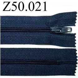fermeture 50 cm bleu foncé non séparable zip nylon