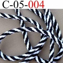 cordon en coton couleur noir blanc et argent superbe diamètre 5 mm vendu au mètre