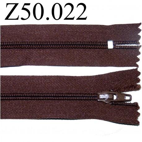 fermeture 50 cm marron non séparable zip nylon