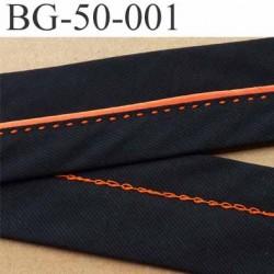 sangle biais ruban a plat en coton couleur noir et orange largeur 5 cm souple vraiment très très solide vendu au mètre