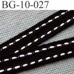 biais sergé galon ruban couleur noir liserets blanc largeur 10 mm vendu au mètre
