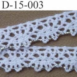 dentelle crochet  en coton largeur 15 mm couleur blanc et argent provient d'une ancienne mercerie parisienne vendue au mètre
