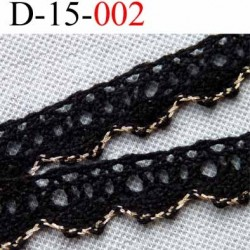 dentelle crochet en coton largeur 15 mm couleur noir et liseret or provient d'une ancienne mercerie parisienne vendue au mètre