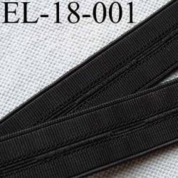 élastique à boutonnière plat souple  largeur 18 mm couleur noir le mètre