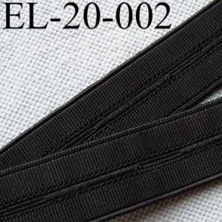 élastique à boutonnière plat souple  largeur 20 mm couleur noir le mètre